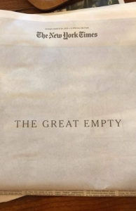The great empty, NYT frontpage